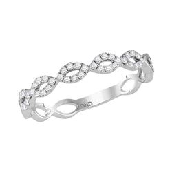 14kt White Gold Round Diamond Twisted Stackable Band Ring 1/5 Cttw