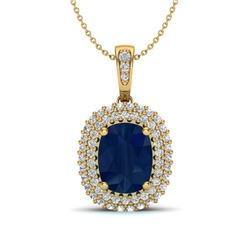3.15 ctw Sapphire & Micro Pave VS/SI Diamond Necklace 18k Yellow Gold