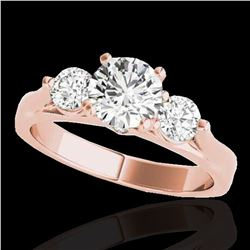 1.50 ctw Certified Diamond 3 Stone Solitaire Ring 10k Rose Gold