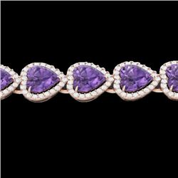 23 ctw Amethyst & Micro Pave Bracelet Heart Halo 14k Rose Gold