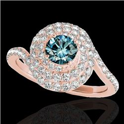 2.11 ctw SI Certified Fancy Blue Diamond Halo Ring 10k Rose Gold