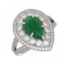 5.12 ctw Certified Emerald & Diamond Victorian Ring 14K White Gold