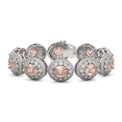 40.92 ctw Morganite & Diamond Victorian Bracelet 14K White Gold