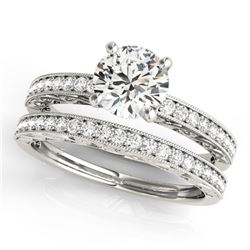 1.16 ctw Certified VS/SI Diamond 2pc Wedding Set Antique 14k White Gold