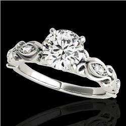 1.1 ctw Certified Diamond Solitaire Antique Ring 10k White Gold