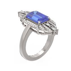 5.27 ctw Tanzanite & Diamond Ring 18K White Gold