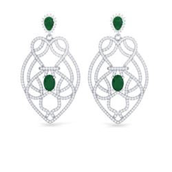 7 ctw Emerald & Micro VS/SI Diamond Heart Earrings 14k White Gold