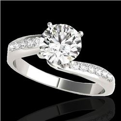 1.15 ctw Certified Diamond Bypass Solitaire Ring 10k White Gold