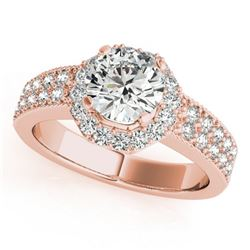 1.4 ctw Certified VS/SI Diamond Halo Ring 14k Rose Gold