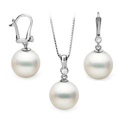White South Sea Pearl and Diamond Bezel Pendant and Dangle Earring Set
