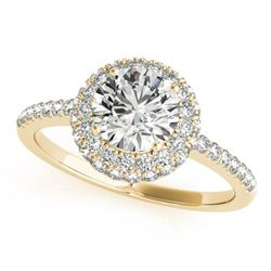 1.1 ctw Certified VS/SI Diamond Halo Ring 18k Yellow Gold