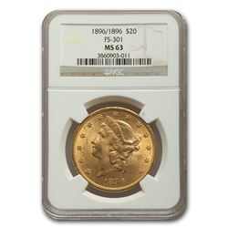 1896/1896 $20 Liberty Gold Double Eagle MS-63 NGC (FS-301)