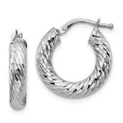 14k White Gold Diamond-cut Round Hoop Earrings