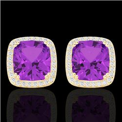 6 ctw Amethyst & Micro Pave VS/SI Diamond Halo Earrings 18k Yellow Gold