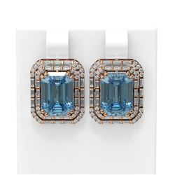 10.37 ctw Blue Topaz & Diamond Earrings 18K Rose Gold