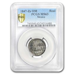 1847 Zs-OM Mexico Silver Real MS-63 PCGS