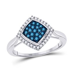 10k White Gold Blue Color Enhanced Round Diamond Diagonal Square Cluster Ring 1/3 Cttw