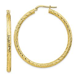 10k Yellow Gold Diamond-cut Round Hoop Earrings - 35 mm