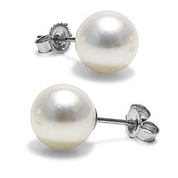 White Freshwater Pearl Earrings, 9.5-10.0mm