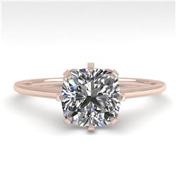 1.0 ctw Certified VS/SI Cushion Diamond Ring Vintage 14k Rose Gold