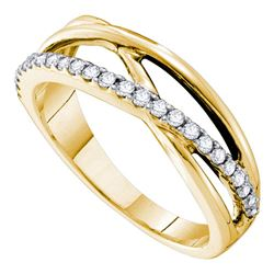 14kt Yellow Gold Round Diamond Crossover Band Ring 1/4 Cttw