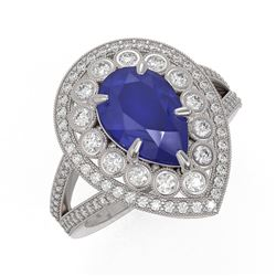 5.12 ctw Certified Sapphire & Diamond Victorian Ring 14K White Gold