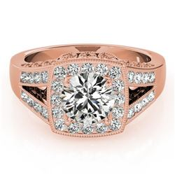 1.65 ctw Certified VS/SI Diamond Solitaire Halo Ring 14k Rose Gold