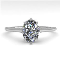 1.0 ctw VS/SI Oval Diamond Engagment Ring 18k White Gold