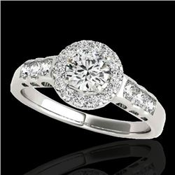 1.55 ctw Certified Diamond Solitaire Halo Ring 10k White Gold