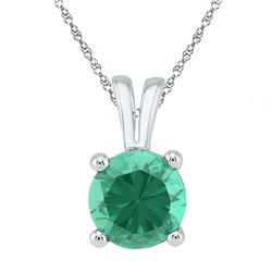 Sterling Silver Round Lab-Created Emerald Solitaire Pendant 1-1/3 Cttw