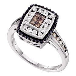 14kt White Gold Princess Brown Black Color Enhanced Diamond Rectangle Cluster Ring 1/2 Cttw