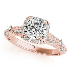 1.36 ctw Certified VS/SI Diamond Solitaire Halo Ring 14k Rose Gold