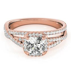 1 ctw Certified VS/SI Cushion Diamond Halo Ring 18k Rose Gold