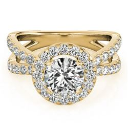 1.51 ctw Certified VS/SI Diamond Halo Ring 18k Yellow Gold