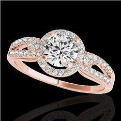 1.25 ctw Certified Diamond Solitaire Halo Ring 10k Rose Gold