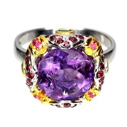Natural Amethyst 11 MM, Multi Gems  & Emerald Ring