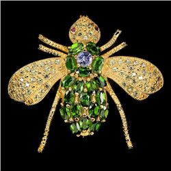Natural Sapphire, Ruby & Chrome Diopside Bee Brooch