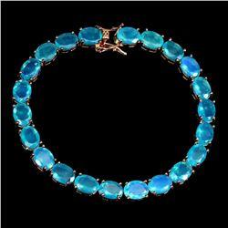 Natural Oval Blue Fire Opal 8x6 MM Bracelet