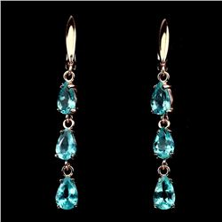 Natural 7x5mm Top Neon Green Apatite Earrings