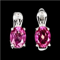Natural  Brazil Pink Topaz  Earrings