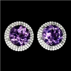 Natural Round Purple Amethyst 12 MM Earrings