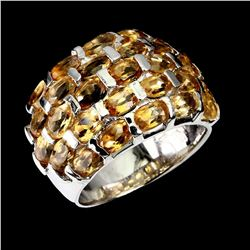 Natural Unheated Oval Yellow Citrine Ring