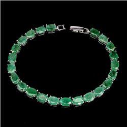 Natural Unheated Oval Zambian Emerald Bracelet