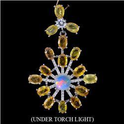 Natural Yellow Sapphire, Opal & Cz Pendant