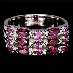 Natural  Marquise Rhodolite Garnet  5x2.5 MM Ring