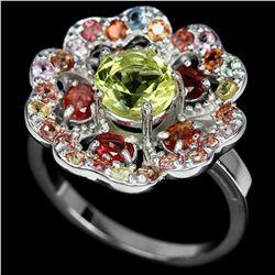 Natural Fancy Sapphire & Lemon Quartz Ring