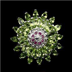 Natural Top Rich Green Peridot Ruby Ring