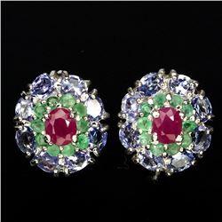 Natural Red Pink Ruby Emerald & Tanzanite Earrings