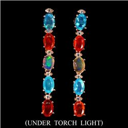 Natural Untreated Multi Color Opal Earrings