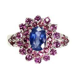 Natural Blue Sapphire & Rhodolite Garnet Ring